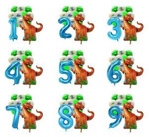 Dinosaure Set Numéro Ballon Anniversaire Fête Feuille Air Remplissage Ballons