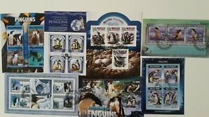 25 Different Penguins on Stamps Collection