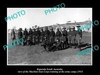 OLD LARGE HISTORIC PHOTO OF KAPUNDA SA, THE WWI MACHINE GUN CORPS TRAINING c1914