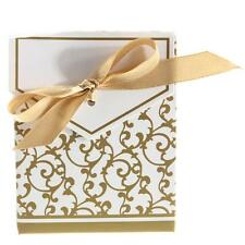 100Pcs Gold Silver Candy Gift Boxes Bags With Ribbon Wedding Favour Gift Boxes