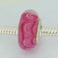 Authentic Chamilia 2110-1191 Raspberry Beret Murano Glass Silver Bead Charm