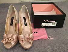 Gold Satin Nina Evelixa Platform Shoes, 4 Inch Heel, Size 7.5