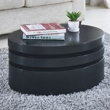 Modern Black Coffee Table Round Rotating Contemporary Living Room Furniture