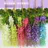 Artificial Hanging Wall Fake Silk Violet Orchid Flower Rattan Plant Party Decor