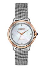 Citizen Eco-Drive Ceci Women's Diamond Accent Mesh Band 32mm Watch EM0796-59Y