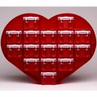 LARGE HEART ORGANISER WITH 16 X 0.14 LITRE REALLY USEFUL BOXES - RED