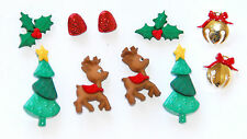 Reindeer Games Holiday Buttons w Trees & Holly Bells / Jesse James Dress It Up