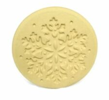 Snowflake Brown Bag Cookie Art Stamp Mold Press Handled Ceramic Earthenware