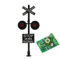 1X HO Scale Railroad Crossing Stop on Red Signal 2 heads + Circuit board flasher
