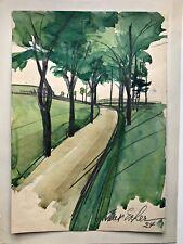 Max Escher, aquarelle, signé, 1924, FRANC, Munich, groupe nordfranken, Cour