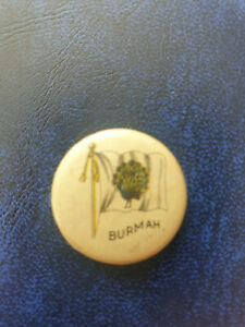 vintage SWEET CAPORAL Tobacco - BURMAH BURMA Flag celluloid pin button pinback