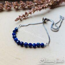 Lapis Lazuli Gemstone Adjustable Silver Bolo Bracelet Handmade Fashion Jewelry