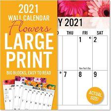 2021 LARGE PRINT Flowers GRID Wall Calendar BIG BLOCKS Easy to Read 12x12 24x12