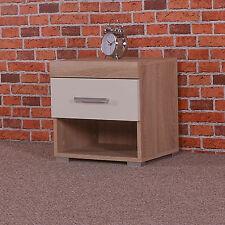 1 Drawer Bedside Table in White & Sonoma Oak Effect - Cabinet Bedroom Furniture