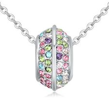 18K WHITE GOLD PLATED & GENUINE MULTI-COLOURED AUSTRIAN CRYSTAL RING NECKLACE