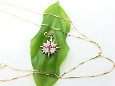 14K Gold Star of Bethlehem Diamonds Rubies Cross Pendant with Necklace Chain