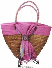 Shoulder Bag Carry Tote Beach Beaded Handle Woven Rattan Cotton