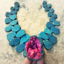 DRUZY QUARTZ MAGENTA Hot PINK earth GEODE PENDANT Soft Blue NECKLACE big JEWELRY