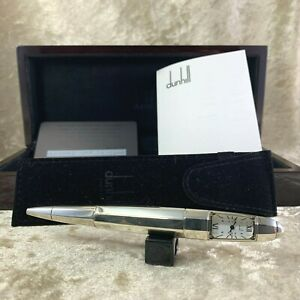 RARE DUNHILL Limited Edition Ballpoint Pen/Clock Facet Torpedo Sterling Silver