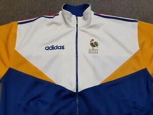 VTG 90s ADIDAS FFF France Jog Top Soccer Football Jacket WHT Blue XXL fits M/L