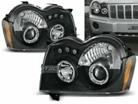 Coppia di Fari Anteriori Chrysler Jeep GRAND CHEROKEE 2005-2008 Angel Eyes Neri