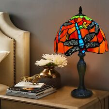 More details for antique style tiffany dragonfly design table desk lamp hand crafted glass shade