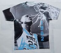 Custom Jordan UNC 1982 championship Sublimated Shirt carolina powder pantone 711