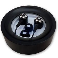 Jewel/Jeweled Black Silicon Earbuds Earphones w/ Hard Case Crystal Diamond Look
