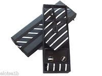 Fantástico negro y Plata Blanco Corbata SET DE REGALO EN CAJA A JUEGO PAÑUELO Y