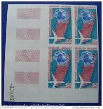 MADAGASCAR timbre aérien yt n°93 non dentelés-Bloc de 4-Coin daté 3.10.1963 n**