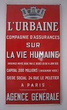AC235 L'URBAINE COMPAGNIE ASSURANCES PLAQUE EMAILLEE EAS 1938 38x68 cm TBE
