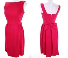 Vtg 50s New Look Raspberry Pink Bow & Pleat Back Day & Party Dress Xs/S