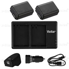 2X NP-FW50 Replacement Battery & USB Dual Charger + AC/DC for Sony NEX-7 NEXF3