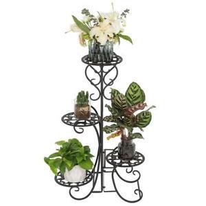 4-Tier Modern Metal Shelves Flower Pot Plant Stand Display Indoor Outdoor Garden