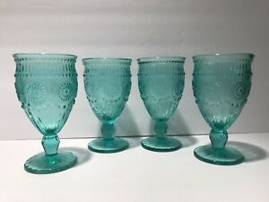 """The Pioneer Woman Adeline Wine Goblets Glasses 6 1/2"""" Turquoise 12oz Set Of 4"""