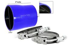 """BLUE Silicone Reducer Coupler Hose 2.75""""-2.5"""" 70 mm-63 mm + T-Bolt Clamps HY"""