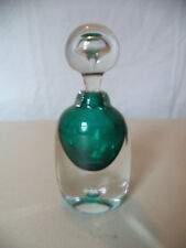 Vintage Mid Century Modern MCM Retro Green Art Glass Tear Drop Perfume Bottle!
