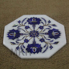 6'' Beautiful Marble Plate/Tile Lapis Floral Inlay Kitchen Precious Decor Gifts