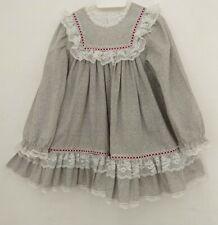 New listing Vintage Bryan Girls Size 4 Dress Light Gray Floral Print White Lace Trim L/S