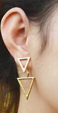 Pair Of Cute Yellow Gold Tone Triangles Stud Earrings Paper Fold Ear Rings ER10