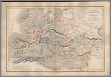 CARTE MAP ANCIENNE EUROPE INVASION BARBARES 1861 ORIGINAL