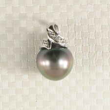 14k Solid White Gold & Diamonds Genuine Peacock Tahitian Pearl Pendant TPJ