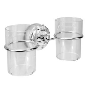 Suction Cup Double Toothbrush Tumbler Holder  Bathroom Cup Holder M&W