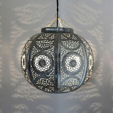 Oriental Bola Lámpara Lámpara Colgante Lámpara de Techo Kitora Metal Plata