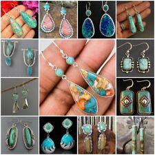 Trendy 925 Silver Plated Turquoise Earrings Metal Ear Stud Hook Drop Dangle Gift