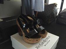 YSL YVES SAINT LAURENT- Strappy Wedge Sandal Heel Patent Black 38 RRP $690USD