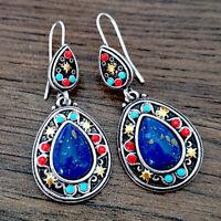 Blue Women Vintage Jewelry Ear Hook Elegant Dangle Drop Gems Earrings