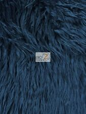 "FAUX FAKE FUR SOLID MONGOLIAN LONG PILE FABRIC - Navy - 60"" SOLD BY THE YARD"