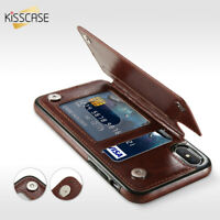Retro PU Leather Flip Wallet Card Slots Phone Case For iPhone X/8 Samsung s8 s9
