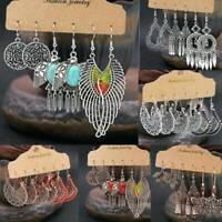 3 Pairs Fashion Boho Womens Earrings Set Antique Ear Stud Drop Dangle Jewelry~